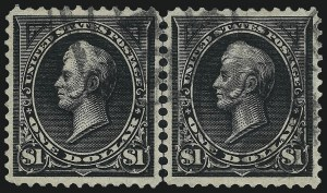 Sale Number 976, Lot Number 1786, 1895 Watermarked Bureau Issue (Scott 264-278)$1.00 Black, Ty. I-II (276-276A), $1.00 Black, Ty. I-II (276-276A)