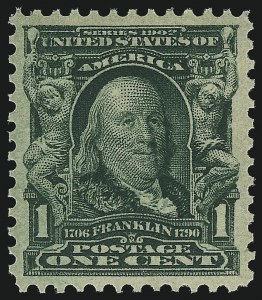 Sale Number 976, Lot Number 1846, 1902-08 Issues (Scott 300-313)1c Blue Green (300), 1c Blue Green (300)