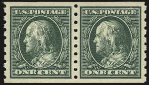 Sale Number 976, Lot Number 1974, 1910-13 Washington-Franklin Issue (Scott 374-396)1c Green, Coil (392), 1c Green, Coil (392)