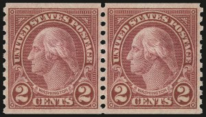 Sale Number 976, Lot Number 2175, 1922-29 Issues (Scott 574-657a, including Scott 613)2c Carmine, Ty. II, Coil (599A), 2c Carmine, Ty. II, Coil (599A)