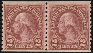 Sale Number 976, Lot Number 2177, 1922-29 Issues (Scott 574-657a, including Scott 613)2c Carmine, Ty. II, Coil (599A), 2c Carmine, Ty. II, Coil (599A)