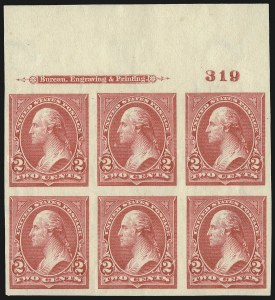 Sale Number 977, Lot Number 501, 1895 Issue Imperforate (Scott 264a-278a)2c Carmine, Ty. III, Imperforate (267a), 2c Carmine, Ty. III, Imperforate (267a)