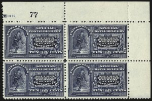 Sale Number 977, Lot Number 602, Special Delivery - 1894 Unwatermarked Issue (Scott E4)10c Blue, Special Delivery (E4), 10c Blue, Special Delivery (E4)