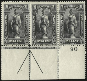 Sale Number 977, Lot Number 781, Newspapers and Periodicals - 1c thru 5c 1895 Unwatermarked Bureau Issue (Scott PR102-PR104)1c Black, 1895 Issue (PR102), 1c Black, 1895 Issue (PR102)