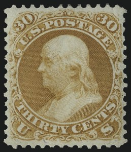 Sale Number 978, Lot Number 1023, 1875 Re-Issue of 1861-66 Issue30c Brownish Orange, Re-Issue (110), 30c Brownish Orange, Re-Issue (110)