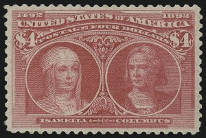 Sale Number 978, Lot Number 1075, Columbian Issue$4.00 Rose Carmine, Columbian (244a), $4.00 Rose Carmine, Columbian (244a)