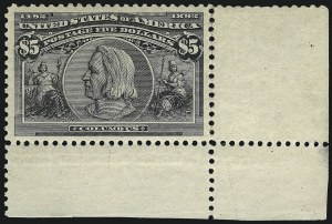 Sale Number 978, Lot Number 1076, Columbian Issue$5.00 Columbian (245), $5.00 Columbian (245)