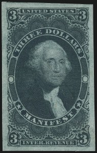 Sale Number 978, Lot Number 1166, Revenues$3.00 Manifest, Imperforate (R86a), $3.00 Manifest, Imperforate (R86a)