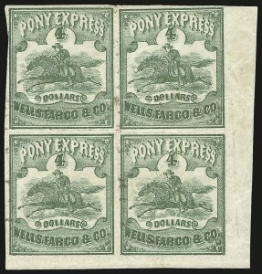 Sale Number 979, Lot Number 14, Phase II (4/1/1861-6/30/1861)Wells, Fargo & Co. Pony Express, $4.00 Green (143L2), Wells, Fargo & Co. Pony Express, $4.00 Green (143L2)