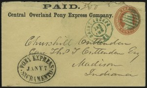 Sale Number 979, Lot Number 5, Phase I (4/3/1860-3/31/1861Paid./Central Overland Pony Express Company, Paid./Central Overland Pony Express Company