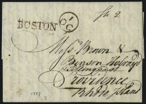 Sale Number 980, Lot Number 2074, Stampless and Town MarkingsBOSTON, BOSTON