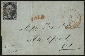 "Sale Number 980, Lot Number 2159, New York Postmasters ProvisionalNew York N.Y., 5c Black on Blue, ""ACM"" Initials (9X2), New York N.Y., 5c Black on Blue, ""ACM"" Initials (9X2)"