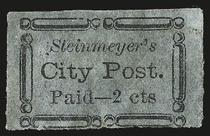 Sale Number 980, Lot Number 2964, CarriersSteinmeyer's City Post, Charleston S.C., 2c Black on Bluish (4LB19), Steinmeyer's City Post, Charleston S.C., 2c Black on Bluish (4LB19)