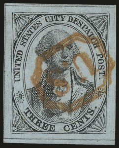 Sale Number 980, Lot Number 2967, CarriersU.S. City Despatch Post, New York N.Y., 3c Black on Light Blue Unsurfaced (6LB3), U.S. City Despatch Post, New York N.Y., 3c Black on Light Blue Unsurfaced (6LB3)