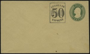 Sale Number 980, Lot Number 2987, Local and Private PostsAdams & Co. Express, 50c Black on 6c Green Nesbitt entire (1LU3 var; Unlisted on U14), Adams & Co. Express, 50c Black on 6c Green Nesbitt entire (1LU3 var; Unlisted on U14)