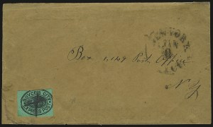 Sale Number 980, Lot Number 2993, Local and Private PostsBoyce's City Express Post, New York N.Y., 2c Black on Green Glazed (19L1), Boyce's City Express Post, New York N.Y., 2c Black on Green Glazed (19L1)