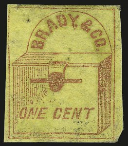 Sale Number 980, Lot Number 2996, Local and Private PostsBrady & Co., New York N.Y., 1c Red on Yellow (22L1), Brady & Co., New York N.Y., 1c Red on Yellow (22L1)
