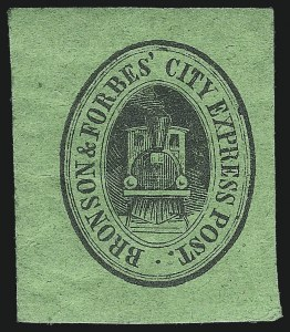 Sale Number 980, Lot Number 2998, Local and Private PostsBronson & Forbes' City Express Post, Chicago Ill., (unstated value) Black on Green (27L1), Bronson & Forbes' City Express Post, Chicago Ill., (unstated value) Black on Green (27L1)