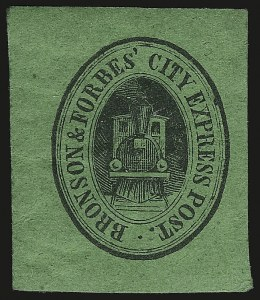Sale Number 980, Lot Number 2999, Local and Private PostsBronson & Forbes' City Express Post, Chicago Ill., (unstated value) Black on Green (27L1), Bronson & Forbes' City Express Post, Chicago Ill., (unstated value) Black on Green (27L1)