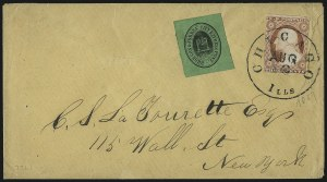 Sale Number 980, Lot Number 3000, Local and Private PostsBronson & Forbes' City Express Post, Chicago Ill., (unstated value) Black on Green (27L1), Bronson & Forbes' City Express Post, Chicago Ill., (unstated value) Black on Green (27L1)