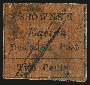 Sale Number 980, Lot Number 3002, Local and Private PostsBrowne's Easton Despatch, Easton Pa., 2c Black on Red (30L1), Browne's Easton Despatch, Easton Pa., 2c Black on Red (30L1)