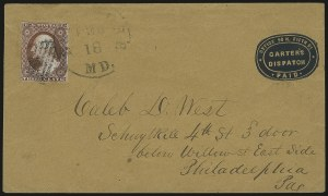 Sale Number 980, Lot Number 3005, Local and Private PostsG. Carter's Despatch, Philadelphia Pa., (2c) Blue on Buff Entire (36LU1), G. Carter's Despatch, Philadelphia Pa., (2c) Blue on Buff Entire (36LU1)