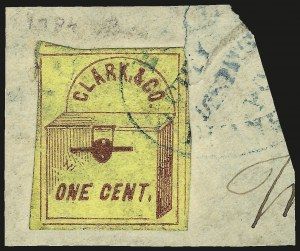 Sale Number 980, Lot Number 3009, Local and Private PostsClark & Co., New York N.Y., 1c Red on Yellow (48L1), Clark & Co., New York N.Y., 1c Red on Yellow (48L1)