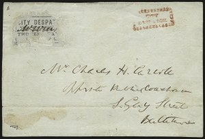 Sale Number 980, Lot Number 3019, Local and Private PostsMearis' City Despatch Post, Baltimore Md., 2c Black on Gray (103L5), Mearis' City Despatch Post, Baltimore Md., 2c Black on Gray (103L5)