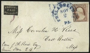 Sale Number 980, Lot Number 3025, Local and Private PostsPriest's Despatch, Philadelphia Pa., (2c) Black on Rose Wove (121L4), Priest's Despatch, Philadelphia Pa., (2c) Black on Rose Wove (121L4)