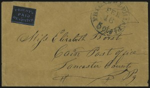 Sale Number 980, Lot Number 3027, Local and Private PostsPriest's Despatch, Philadelphia Pa., (2c) Black on Blue Wove (121L7), Priest's Despatch, Philadelphia Pa., (2c) Black on Blue Wove (121L7)