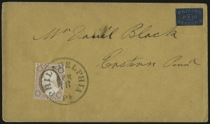 Sale Number 980, Lot Number 3028, Local and Private PostsPriest's Despatch, Philadelphia Pa., (2c) Black on Blue Wove (121L7), Priest's Despatch, Philadelphia Pa., (2c) Black on Blue Wove (121L7)