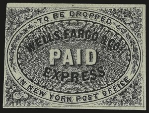 "Sale Number 980, Lot Number 3038, Local and Private PostsWells, Fargo & Co., (unstated value) Black, ""To Be Dropped in New York Post Office"" (143LP1), Wells, Fargo & Co., (unstated value) Black, ""To Be Dropped in New York Post Office"" (143LP1)"