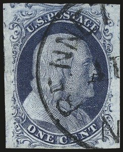 Sale Number 982, Lot Number 5036, 1c-3c 1851-56 Issue (Scott 5-11)1c Blue, Ty. II (7), 1c Blue, Ty. II (7)