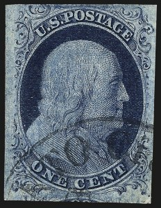 Sale Number 982, Lot Number 5037, 1c-3c 1851-56 Issue (Scott 5-11)1c Blue, Ty. II, Plate 3 (7), 1c Blue, Ty. II, Plate 3 (7)