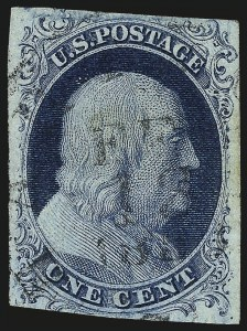 Sale Number 982, Lot Number 5038, 1c-3c 1851-56 Issue (Scott 5-11)1c Blue, Ty. II, Plate 3 (7), 1c Blue, Ty. II, Plate 3 (7)