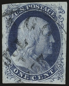 Sale Number 982, Lot Number 5040, 1c-3c 1851-56 Issue (Scott 5-11)1c Blue, Ty. III (8), 1c Blue, Ty. III (8)
