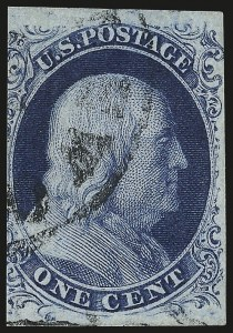 Sale Number 982, Lot Number 5042, 1c-3c 1851-56 Issue (Scott 5-11)1c Blue, Ty. III (8), 1c Blue, Ty. III (8)