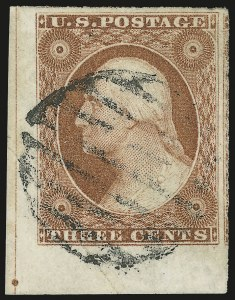 Sale Number 982, Lot Number 5051, 1c-3c 1851-56 Issue (Scott 5-11)3c Orange Brown, Ty. I (10), 3c Orange Brown, Ty. I (10)
