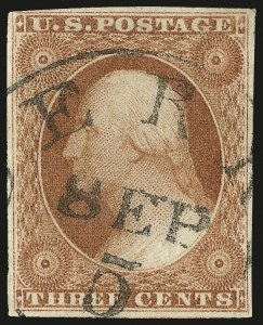 Sale Number 982, Lot Number 5052, 1c-3c 1851-56 Issue (Scott 5-11)3c Yellowish Orange Brown, Ty. I (10 var), 3c Yellowish Orange Brown, Ty. I (10 var)