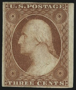 Sale Number 982, Lot Number 5053, 1c-3c 1851-56 Issue (Scott 5-11)3c Orange Brown, Ty. II (10A), 3c Orange Brown, Ty. II (10A)