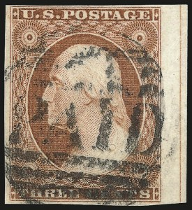 Sale Number 982, Lot Number 5054, 1c-3c 1851-56 Issue (Scott 5-11)3c Orange Brown, Ty. II (10A), 3c Orange Brown, Ty. II (10A)