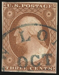 Sale Number 982, Lot Number 5057, 1c-3c 1851-56 Issue (Scott 5-11)3c Copperish Orange Brown, Ty. II (10A var), 3c Copperish Orange Brown, Ty. II (10A var)