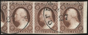 Sale Number 982, Lot Number 5064, 1c-3c 1851-56 Issue (Scott 5-11)3c Claret, Ty. I (11 var), 3c Claret, Ty. I (11 var)