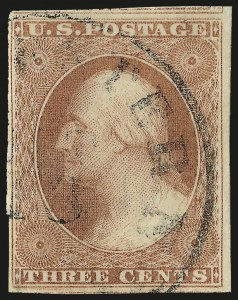 Sale Number 982, Lot Number 5065, 1c-3c 1851-56 Issue (Scott 5-11)3c Pinkish, Ty. I (11 var), 3c Pinkish, Ty. I (11 var)