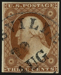 Sale Number 982, Lot Number 5071, 1c-3c 1851-56 Issue (Scott 5-11)3c Experimental Orange Brown, Ty. II (11A var), 3c Experimental Orange Brown, Ty. II (11A var)