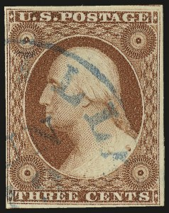 Sale Number 982, Lot Number 5072, 1c-3c 1851-56 Issue (Scott 5-11)3c 1856 Orange Brown, Ty. II (11A var), 3c 1856 Orange Brown, Ty. II (11A var)