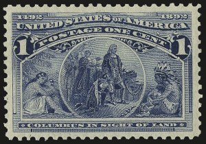 Sale Number 982, Lot Number 5534, 1893 Columbian Issue (1c thru 8c, Scott 230-236)1c Columbian (230), 1c Columbian (230)