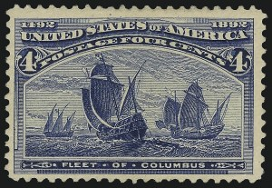 Sale Number 982, Lot Number 5548, 1893 Columbian Issue (1c thru 8c, Scott 230-236)4c Columbian, Error of Color (233a), 4c Columbian, Error of Color (233a)