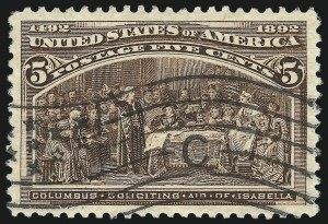 Sale Number 982, Lot Number 5555, 1893 Columbian Issue (1c thru 8c, Scott 230-236)5c Columbian (234), 5c Columbian (234)
