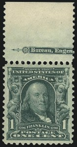 Sale Number 982, Lot Number 5674, 1902-08 Issues (Scott 300-322)1c Blue Green (300), 1c Blue Green (300)